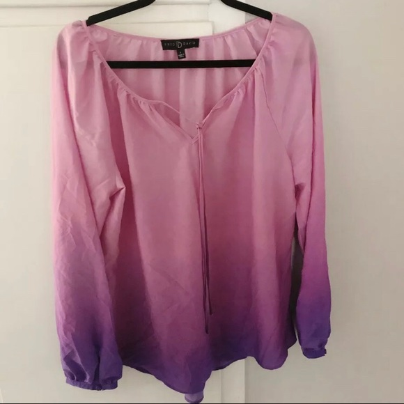 Fred David Tops - Fred David Pink purple ombré blouse sz L